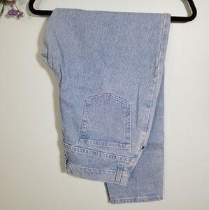 High Waist Light Wash Denim Mom Jeans Tapered Leg